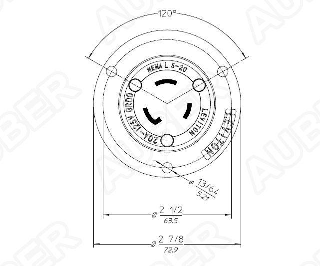 Leviton 125V 20A NEMA L5-20P Locking Flanged Inlet [L5-20P