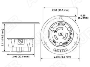 Leviton 240V 30A NEMA L630R Flanged Outlet Locking