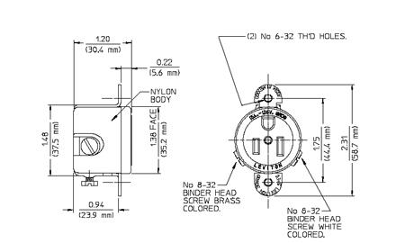 usa plug wiring diagram earth day night leviton 120v 15a us socket, panel mount, nema 5-15r round cut [5258-ss] - $8.50 : auber ...