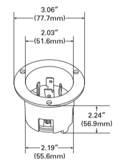 Black NEMA L14-30P Locking Flanged Inlet [AH-L14-30P-F