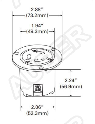 240V 30A NEMA L6-30R Flanged Outlet Locking Receptacle
