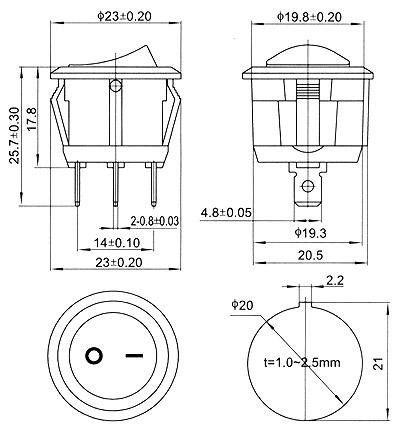 Single Pole Single Throw Rocker Switch 120V 10A [KCD1
