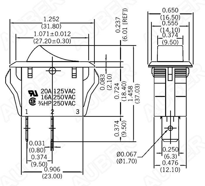 Single Pole Single Throw Rocker Switch 125V 20A [KCD2