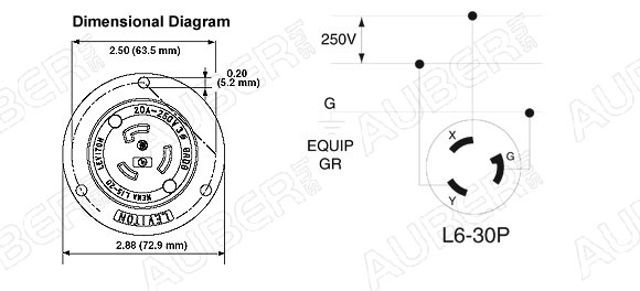 Leviton 250V 30A NEMA L6-30P Flanged Inlet Locking