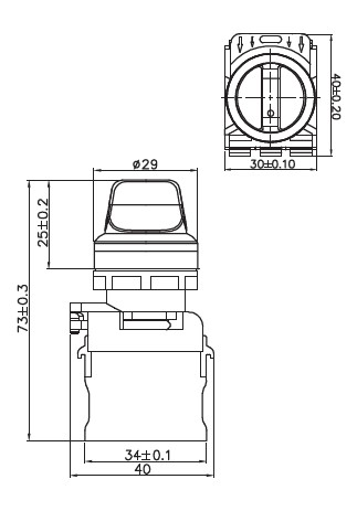 Illuminated Short Profile 22mm Selector, 2-Position