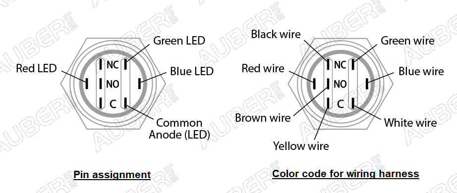 Wiring Harness for Illuminated Metal Push Button Switch