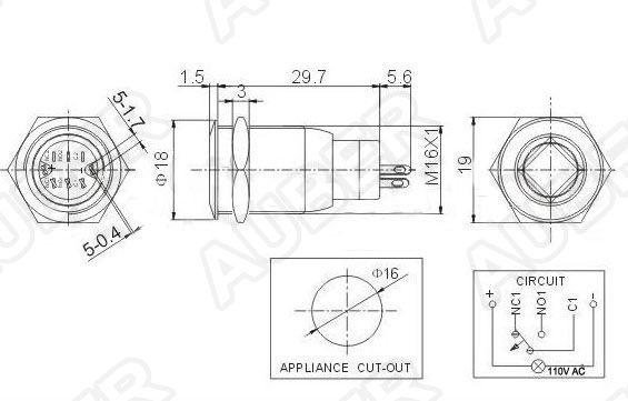 Illuminated Metal Push Button Switch, 110V AC, 16mm [SW9
