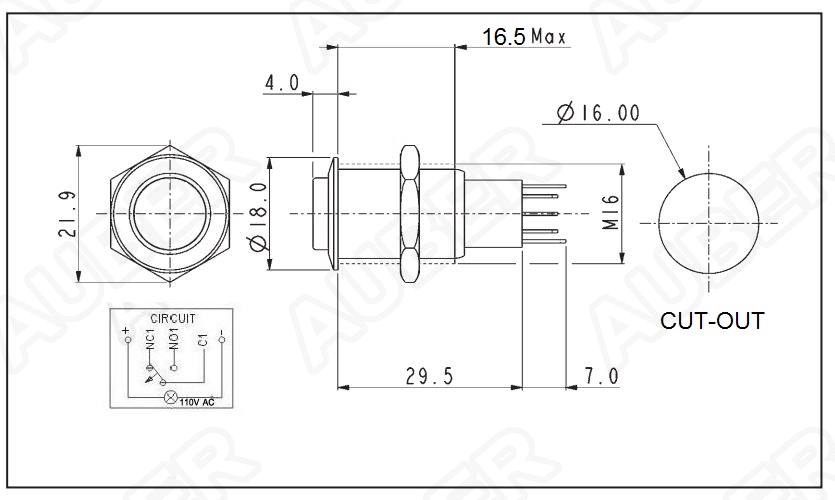 Illuminated Metal Pushbutton Switch, 110VAC, 16mm [SW9-110