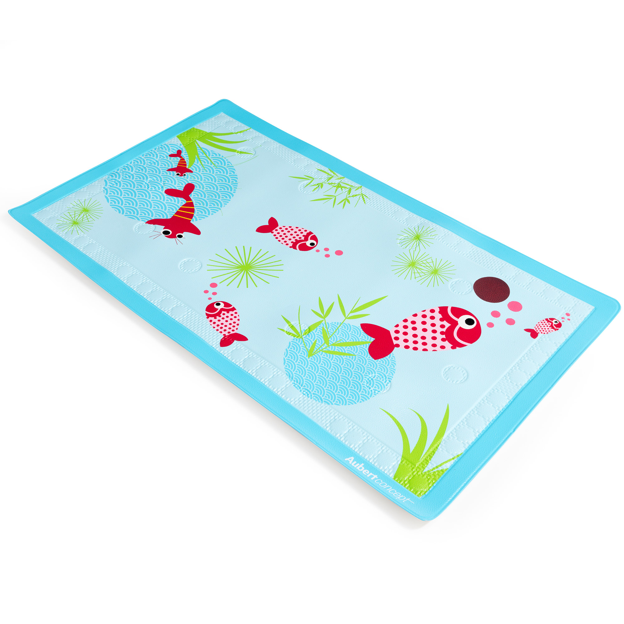 tapis de bain aquarium bleu