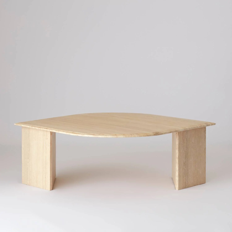 vintage 1970s travertine teardrop shaped coffee table