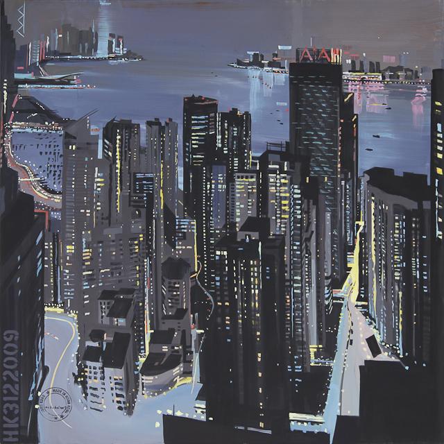 Peinture de Hong Kong de nuit par Michelle Auboiron