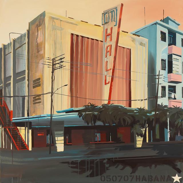 L'ancien cinéma - Le City Hall à la Havane - Peinture de Michelle Auboiron