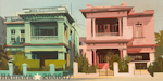 Maisons jumelle à la Havane - Peinture de Michelle Auboiron