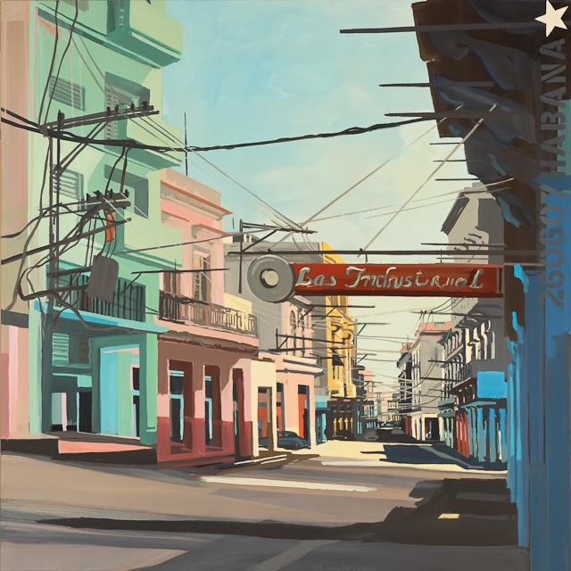 Los Industrial - Acrylique sur toile de la Havane par Michelle Auboiron