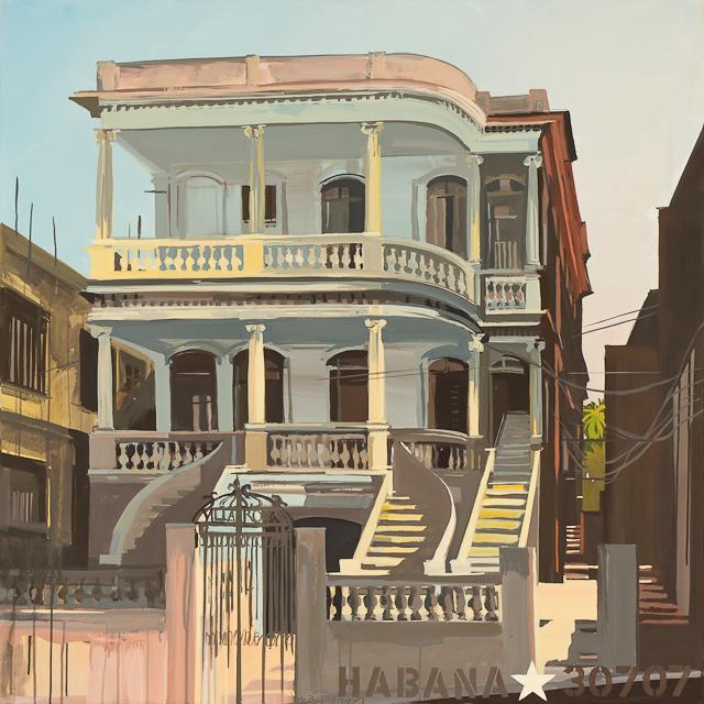 La Villa Rosa à la Havane - Peinture par Michelle Auboiron