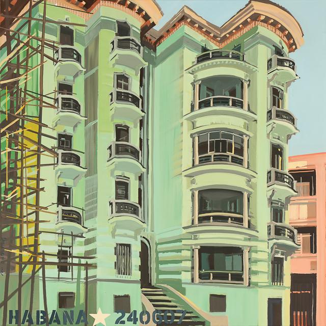 Architecture de la Havane - Acrylique sur toile de Michelle Auboiron