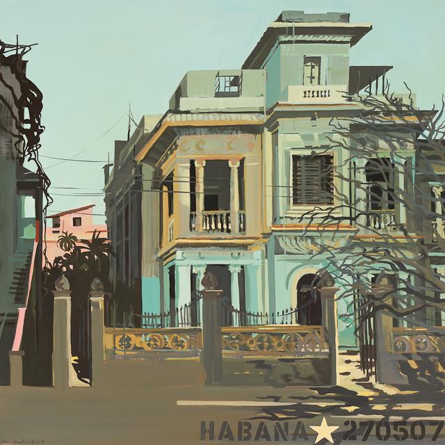 Peinture d'architecture cubaine par Michelle Auboiron - La maison verte