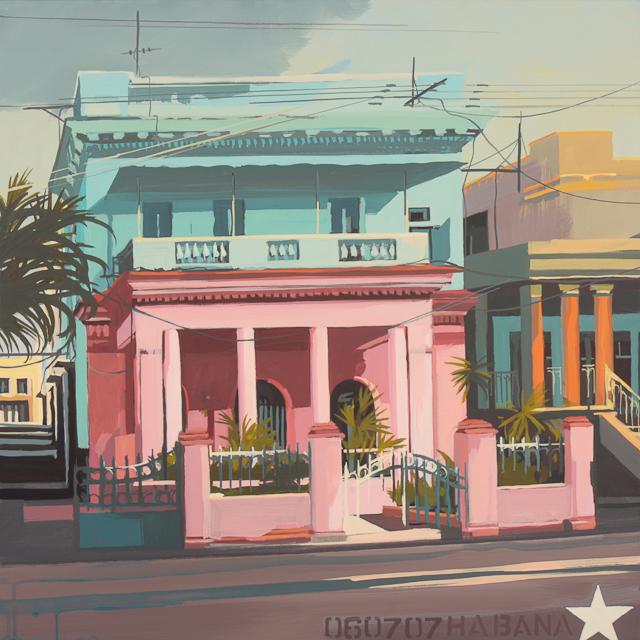 Villas de la Havane - Peinture de Michelle Auboiron