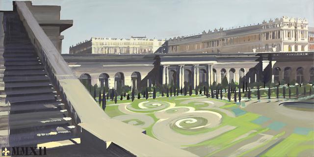 Le Château et les jardins de L'Orangerie depuis l'Escalier des 100 marches