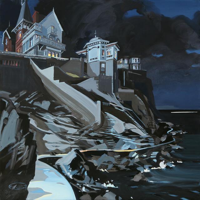 Peinture de nuit des villas de la Pointe de la Malouine à Dinard par Michelle Auboiron