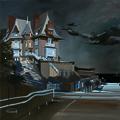 Peinture de nuit de la Villa Rosavel à Saint Enogat par Michelle AUBOIRON