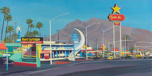 Fong's Garden - Série Motels des fifties (Las Vegas) - Peinture de Michelle AUBOIRON