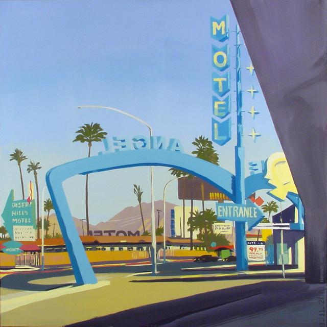 Blue Angel Motel - Série Motels des fifties (Las Vegas) - Peinture de Michelle AUBOIRON