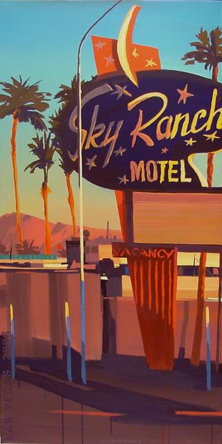 Sky Ranch Motel - Série Motels des fifties (Las Vegas) - Peinture de Michelle AUBOIRON