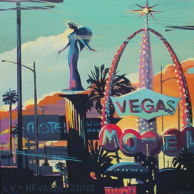 Vegas - Série Motels des fifties (Las Vegas) - Peinture de Michelle AUBOIRON