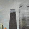 Peinture de Chicago par Michelle AUBOIRON - Painting of Chicago by Michelle AUBOIRON - John Hancock Center from the studio