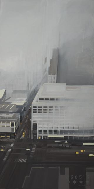 Peinture de Chicago par Michelle AUBOIRON - Painting of Chicago by Michelle AUBOIRON - John Hancock Center in the fog.