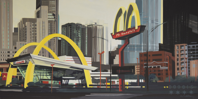 Peinture de Chicago par Michelle AUBOIRON - Painting of Chicago by Michelle AUBOIRON - The Big Mac Donald's