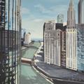 Peinture de Chicago par Michelle AUBOIRON - Painting of Chicago by Michelle AUBOIRON - Chicago River from IBM Building