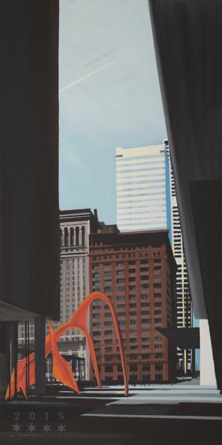 Peinture de Chicago par Michelle AUBOIRON - Painting of Chicago by Michelle AUBOIRON - The Flamingo