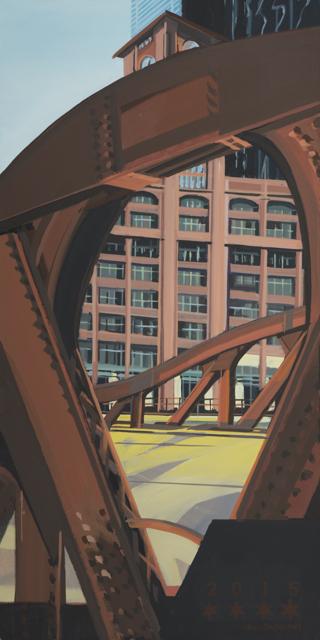 Peinture de Chicago par Michelle AUBOIRON - Painting of Chicago by Michelle AUBOIRON - Franklin Street Bridge