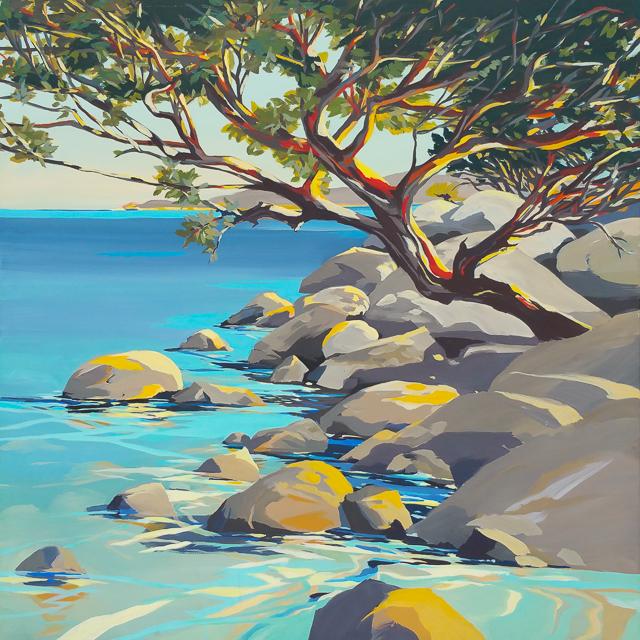 La crique de Cala Rossa - Peinture de Corse de Michelle Auboiron