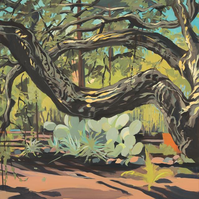 Chênes-liège et figuier de barbarie dans le jardin de Cala Rossa - Peinture de Corse de Michelle Auboiron