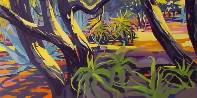 Arbres et Cactus - Cala Rossa - Peinture de Corse de Michelle Auboiron