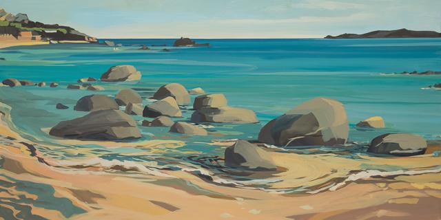 La plage des pots de fleur - Cala Rossa - Peinture de Corse de Michelle Auboiron