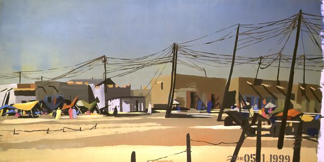 "Le ""Dakar"" 1999 - Atar -  Mauritanie - Peinture - acrylique sur toile de Michelle AUBOIRON"