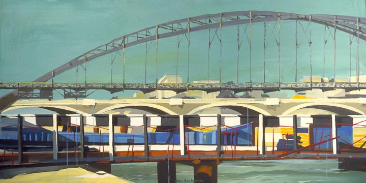"""Le Pont Charles de Gaulle en construction et la Passerelle d'Austerlitz - Acrylique sur toile - Peinture de la série """"Les Ponts de Paris"""" de Michelle AUBOIRON"""
