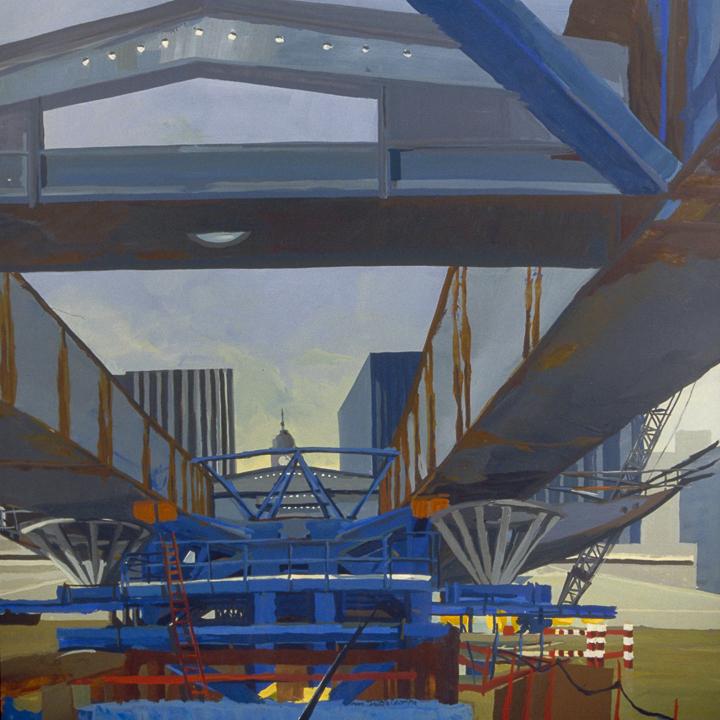 """Le Pont Charles de Gaulle en construction - Acrylique sur toile - Peinture de la série """"Les Ponts de Paris"""" de Michelle AUBOIRON"""