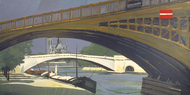 """Pont Sully, Pont de la Tournelle et Notre Dame - Acrylique sur toile - Peinture de la série """"Les Ponts de Paris"""" de Michelle AUBOIRON"""