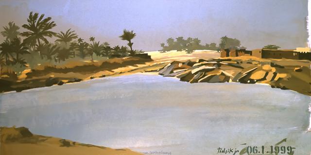 "Le ""Dakar"" 1999 - Tidjikja - Mauritanie - Peinture - acrylique sur toile de Michelle AUBOIRON"
