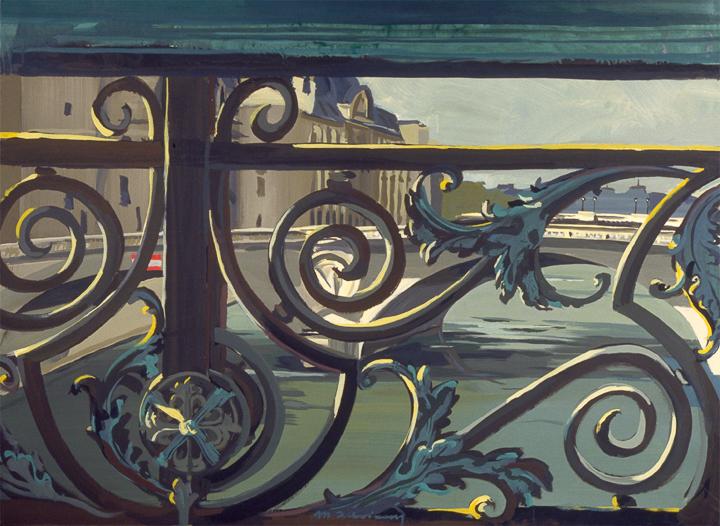 """Pont Notre-Dame, Pont au Change et la Conciergerie - Acrylique sur toile - Peinture de la série """"Les Ponts de Paris"""" de Michelle AUBOIRON"""