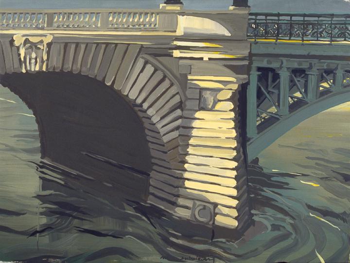 """La Pile du Pont Notre-Dame - Acrylique sur toile - Peinture de la série """"Les Ponts de Paris"""" de Michelle AUBOIRON"""