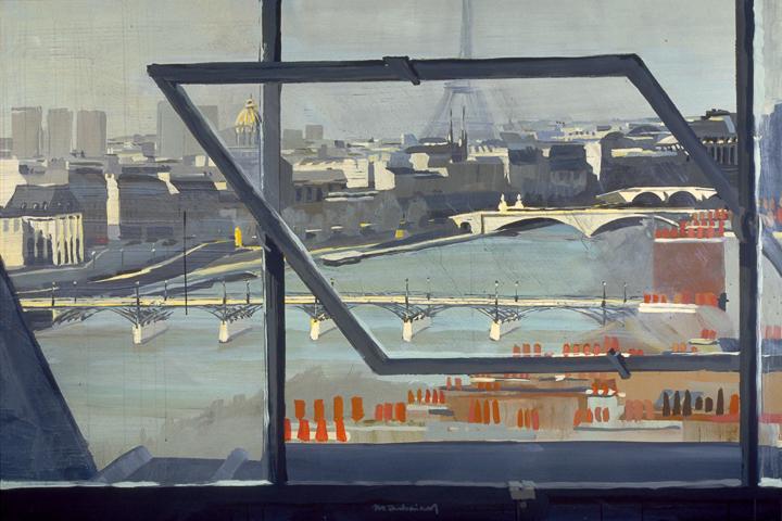 """La Passerelle des arts depuis la Samaritaine - Acrylique sur toile - Peinture de la série """"Les Ponts de Paris"""" de Michelle AUBOIRON"""
