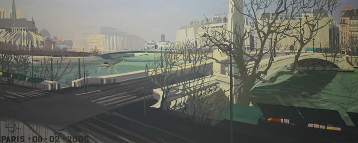 """Pont de la Tournelle - Acrylique sur toile - Peinture de la série """"Les Ponts de Paris"""" de Michelle AUBOIRON"""
