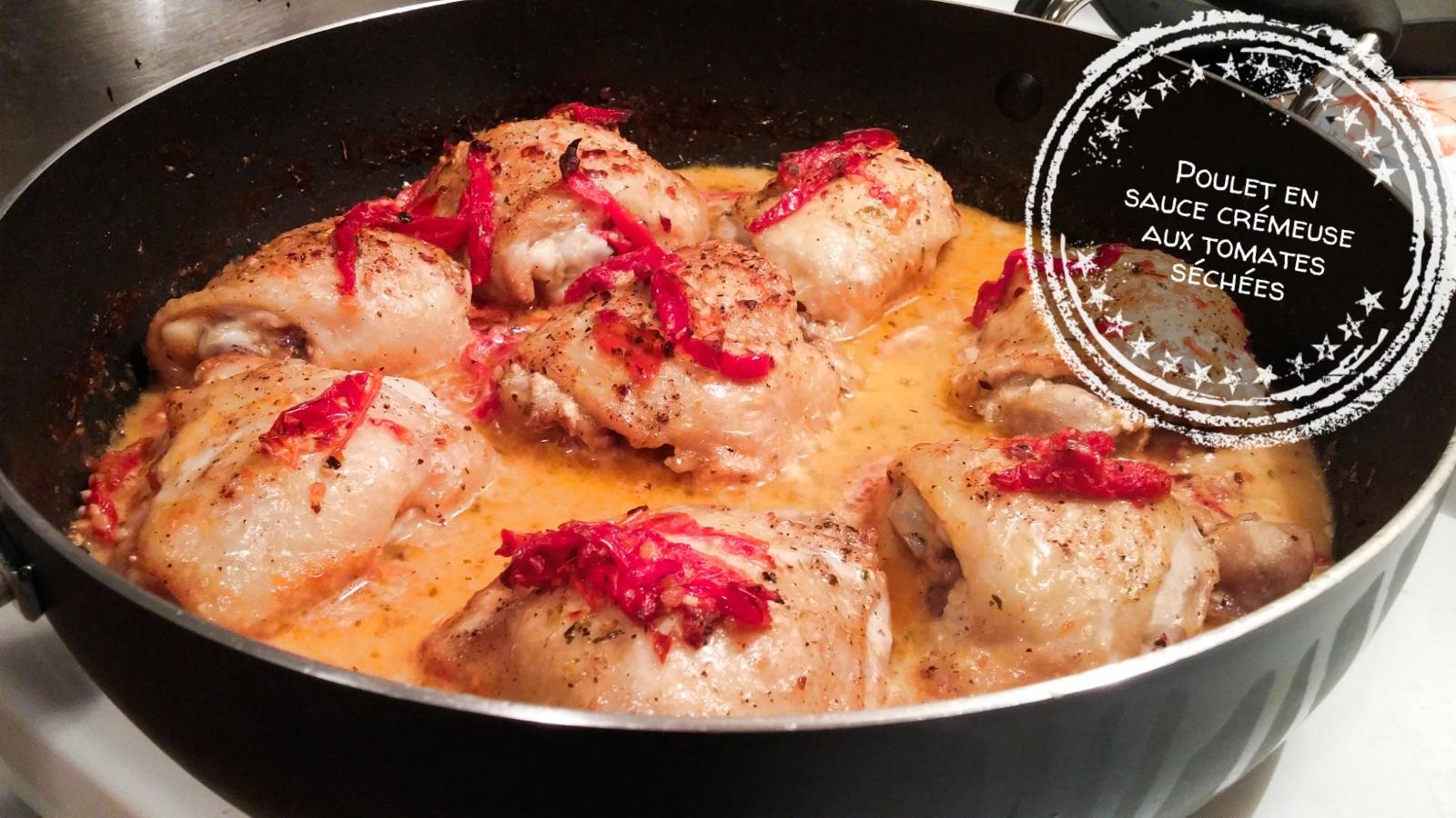 Poulet en sauce cr meuse aux tomates s ch es au bout de - Cuisse de poulet en sauce ...