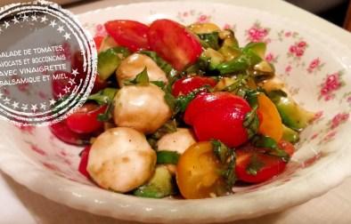 Salade d'avocats, tomates et boccocinis, vinaigrette balsamique et miel - Auboutdelalangue.com
